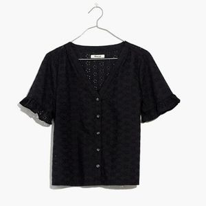 Madewell eyelet village ruffle top black button M
